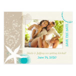 Aqua, Ivory, Tan Beach wedding Photo Save the Date Post Cards
