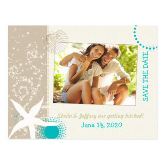 Aqua Ivory Tan Beach wedding Photo Save the Date Postcard