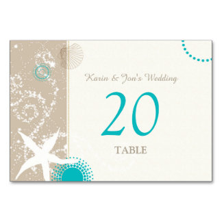 Aqua Ivory Taupe Beach Wedding Table Numbers Table Card