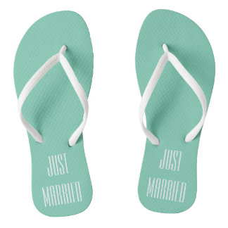 Aqua Just Married Flip Flops
