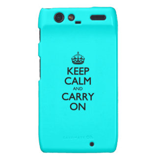Aqua Keep Calm And Carry On Droid RAZR Cover