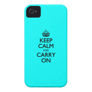 Aqua Keep Calm And Carry On Case-Mate iPhone 4 Cases