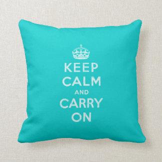 Aqua KEEP CALM AND Carry ON Pillow