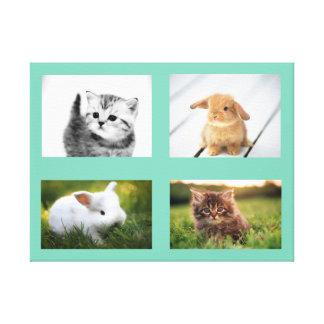 Aqua Kitten & Bunny Canvas