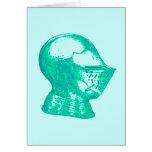 Aqua Knight Armor Medieval Helmet Knights Greeting Card