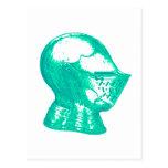 Aqua Knight Armor Medieval Helmet Knights Post Cards
