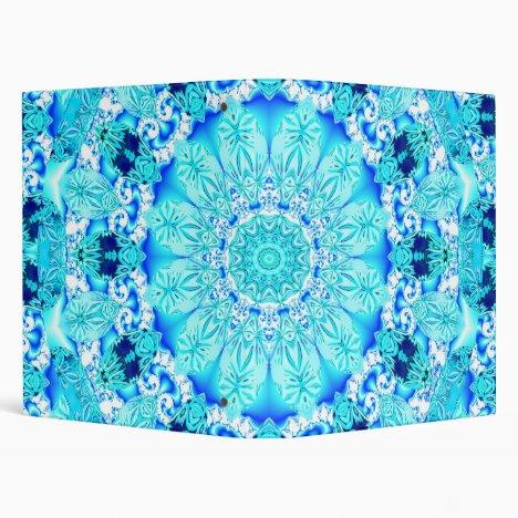 Aqua Lace, Delicate, Abstract Mandala 3 Ring Binder