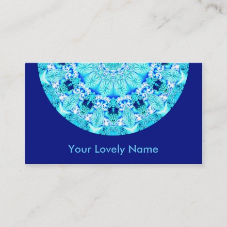 Aqua Lace, Delicate, Abstract Mandala Business Card