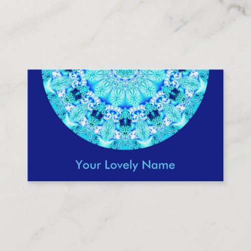Aqua Lace, Delicate, Abstract Mandala Business Card