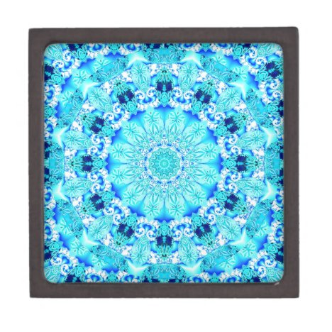 Aqua Lace, Delicate, Abstract Mandala Keepsake Box