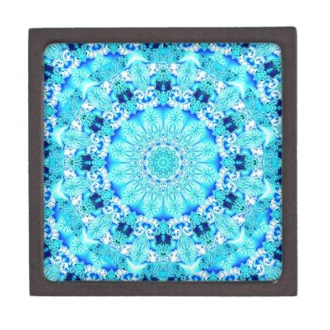 Aqua Lace, Delicate, Abstract Mandala Keepsake Box