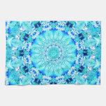Aqua Lace, Delicate, Abstract Mandala Kitchen Towels