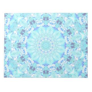 Aqua Lace, Delicate, Abstract Mandala Memo Pad