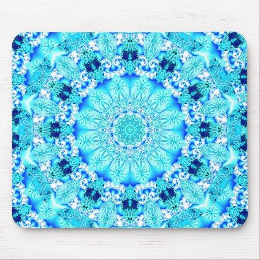 Aqua Lace, Delicate, Abstract Mandala Mousepads