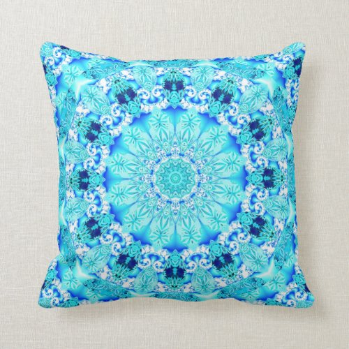 Aqua Lace, Delicate, Abstract Mandala Pillows