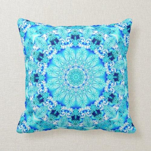 Aqua Lace, Delicate, Abstract Mandala Pillows