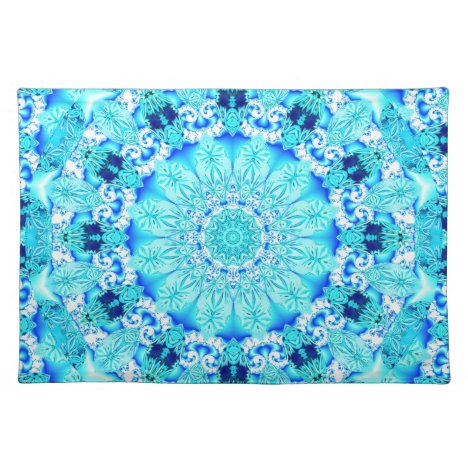 Aqua Lace, Delicate, Abstract Mandala Placemat