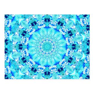 Aqua Lace, Delicate, Abstract Mandala Postcard