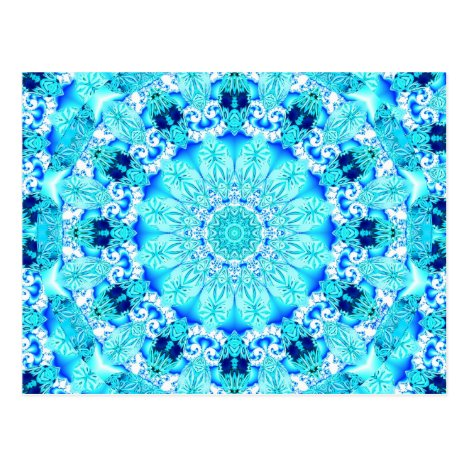 Aqua Lace, Delicate, Abstract Mandala Postcard