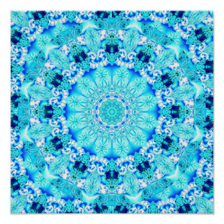 Aqua Lace, Delicate, Abstract Mandala Poster