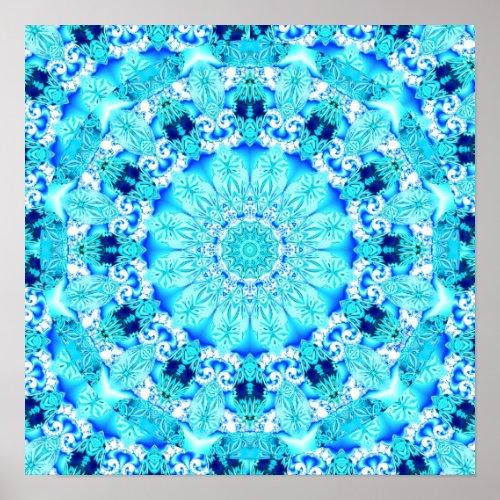 Aqua Lace, Delicate, Abstract Mandala Poster