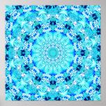Aqua Lace, Delicate, Abstract Mandala Posters