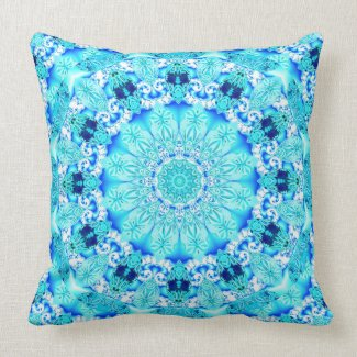 Aqua Lace, Delicate, Abstract Mandala Throw Pillow