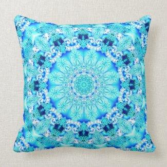 Aqua Lace, Delicate, Abstract Mandala Throw Pillow