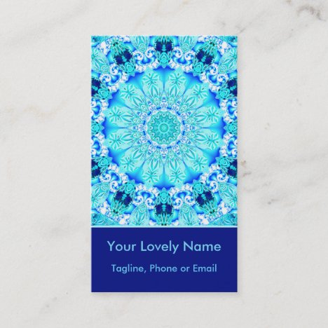 Aqua Lace, Delicate, Abstract Mandala Vertical Business Card
