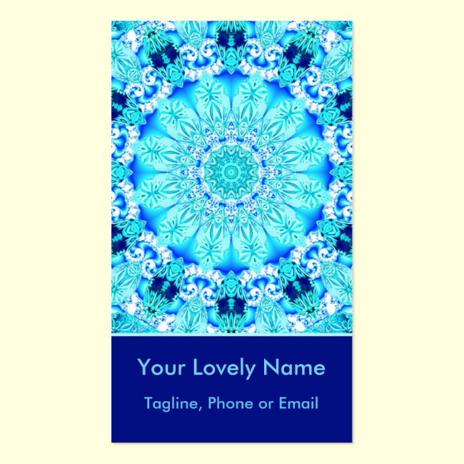 Aqua Lace, Delicate, Abstract Mandala Vertical Double-Sided Standard Business Cards (Pack Of 100)