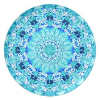 Aqua Lace Mandala, Abstract Blue Dinner Plate