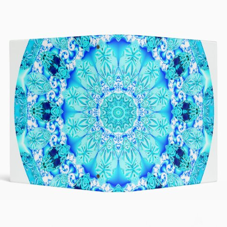 Aqua Lace Mandala, Delicate, Abstract 3 Ring Binder