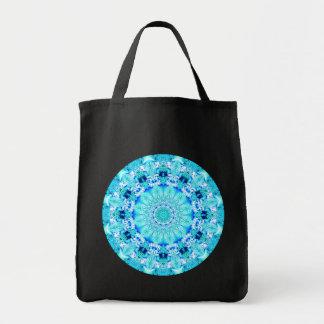 Aqua Lace Mandala, Delicate, Abstract Grocery Tote Bag