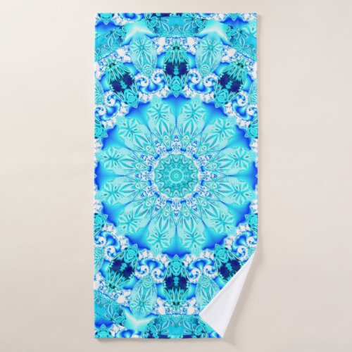 Aqua Lace Mandala, Delicate, Abstract Bath Towel