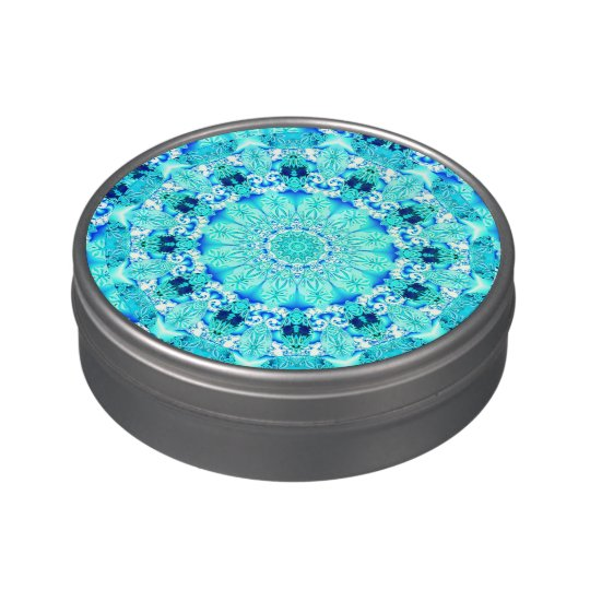 Aqua Lace Mandala, Delicate, Abstract Blue Jelly Belly Tin
