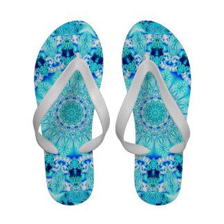 Aqua Lace Mandala, Delicate, Abstract Blue Sandals