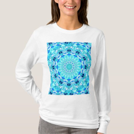 Aqua Lace Mandala, Delicate, Abstract Blue T-Shirt