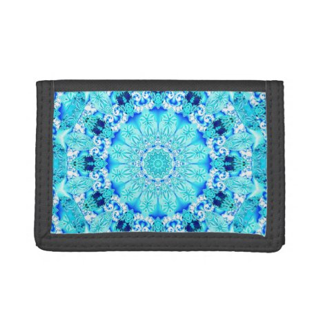 Aqua Lace Mandala, Delicate, Abstract Blue Trifold Wallet