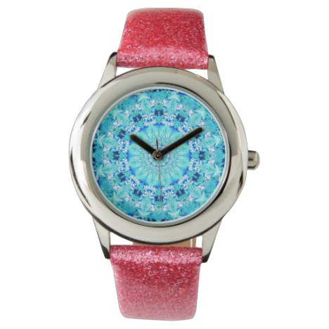 Aqua Lace Mandala, Delicate, Abstract Blue Wristwatch
