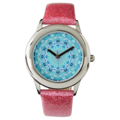 Aqua Lace Mandala, Delicate, Abstract Blue Wristwatch