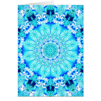 Aqua Lace Mandala, Delicate, Abstract Greeting Cards