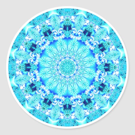 Aqua Lace Mandala, Delicate, Abstract Classic Round Sticker