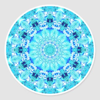 Aqua Lace Mandala, Delicate, Abstract Classic Round Sticker
