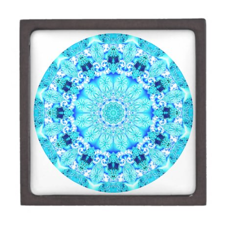 Aqua Lace Mandala, Delicate, Abstract Gift Box