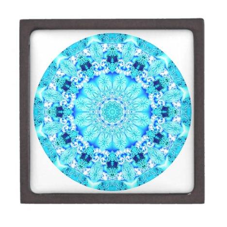 Aqua Lace Mandala, Delicate, Abstract Gift Box