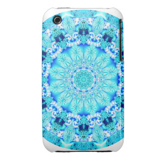 Aqua Lace Mandala, Delicate, Abstract iPhone 3 Case