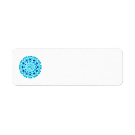 Aqua Lace Mandala, Delicate, Abstract Label