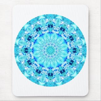 Aqua Lace Mandala, Delicate, Abstract Mouse Pad