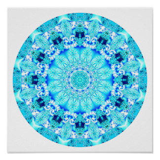 Aqua Lace Mandala, Delicate, Abstract Posters