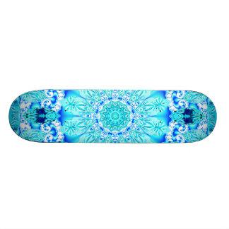 Aqua Lace Mandala, Delicate, Abstract Custom Skate Board